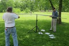 Pierre K9EYE and John KE9NDY setting up the cobweb antenna