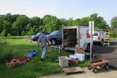 Roger KF9D unloading the rental trailer