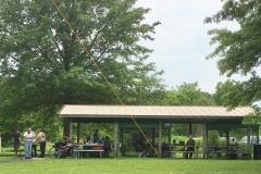 Several operators enjoying food and refreshments at the Rush Creek pavilion
