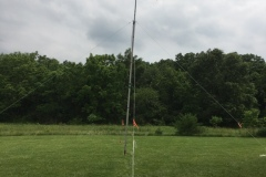 The cobweb antenna deployed on the mast