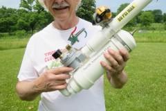 Mike WB8BZK with the mini tennis ball gun