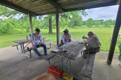 Loren (K3RFC), Glenn (K9GLN), and Jack (W9MU) do some catching up