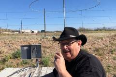 Doug Mather KD9PK operating QRP from Sahuarita, AZ using the world's largest discone antenna (80' high)